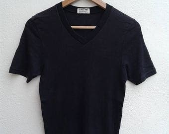 ON SALE RUN Vintage 90s Helmut Lang Plain Black V Neck Made In Japan Asap T-Shirt