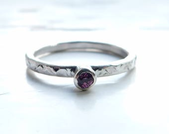 Silver Pink Tourmaline Hammered Stacking Ring, Engagement Ring, Solitaire Ring, Stacking Ring, Boho RIng, Size M