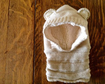 Cream Teddy cowl/hat