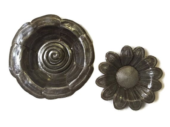 "Metal Flowers Handmade in Haiti From Recycled Oil Drums, (set of 2), 7"", 9"""