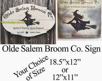 Salem Broom Co Halloween Sign, Witch Sign, Free USA Shipping