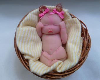 "Polymer Clay Babies Chunky Baby Girl, Baby Size 3.0"" Solid Sculpt, Gift, Collectible, Keepsake, Memorial, Baby Shower, Cake Topper Miniature"