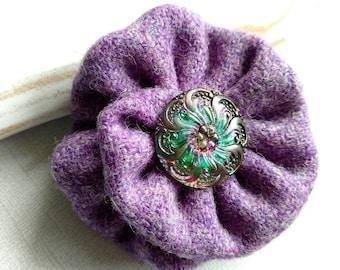 Purple Harris Tweed brooch, Scottish wedding, corsage,  Scottish brooch, Scottish gifts, Scotland, Czech glass, flower brooch, gifts for Mom