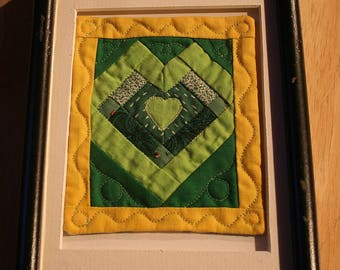 Green Hearts--Framed Patchwork--Home Decor--Wall Hanging--Shipping Included