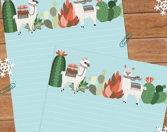 Alpaca world - DOWNLOAD file - Printable Writing paper - A5 size