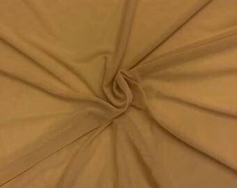 """Camel Solid Power Mesh Fabric Nylon Spandex 60"""" wide Stretch Sold BTY Many Colors"""