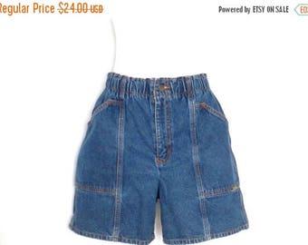 1980's High Waist Jean Shorts Cherokee Elastic Waist Denim Shorts Vintage Mom Shorts Size 12 Jean Shorts 80's High Waist Mom Shorts