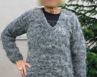 women's hand knitted mohair wool sweater