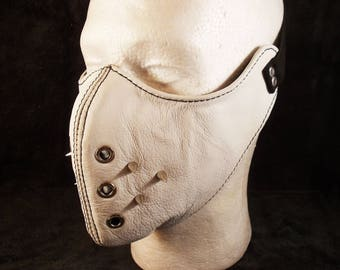 FREE SHIPPING! Natural white leather motorcycle mask with spikes