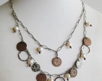 Silpada Coin Copper Bronze and Fresh Water Pearl Sterling Silver Two Layer Necklace.