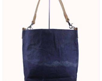 Waxed Canvas Bucket Bag - Navy - Leather Strap