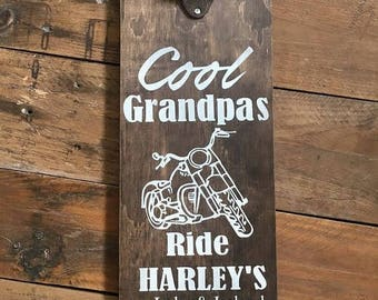 Grandpa Gift,Husband gift,Father's Day Gift,Papa Gift,Man Gift,Harley,Motorcycle Gifts,Harley Davidson Sign,Bottle opener,Groomsman,man cave
