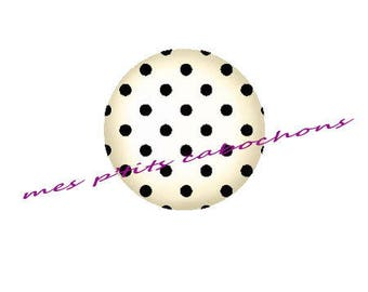 25 mm - nice Ref 4 polka dot glass cabochon