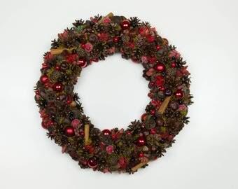 Front door wreath, Advent wreath, Christmas wreath, Xmas Centerpiece, Candle centerpiece, Christmas decoration, Rustic, Pine cones, Natural