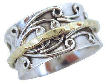 RADHA Meditatin Spinner Ring with Brass Spinner on 3D Floral Pattern Sterling Silver Base Ring by Energy Stone (Style US05/USA05 /798)