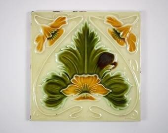 Antique 1900s English Art Nouveau H.A. Ollivant pottery tile