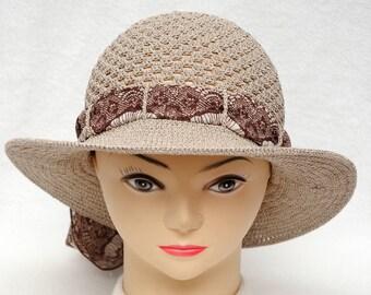 Crochet Hat Womens Gift|for|Her Brown Hat Holiday gift Womens Sun hat Wide Brim Hat Women Accessories Womens Hats Beach Hat Summer gift idea