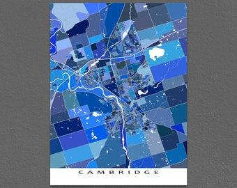 Cambridge Map Print, Cambridge Ontario Canada, City Art Poster