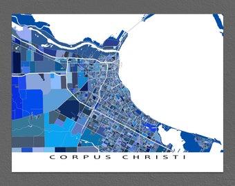 Corpus Christi Map, Corpus Christi Texas, City Maps, Street Art, Blue