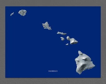 Hawaii Map Print, Hawaiian Islands Art, Maui Oahu Kauai Molokai Lanai Niihau Kahoolawe
