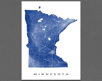 Minnesota Map, Minnesota State Art Print, USA, Minneapolis