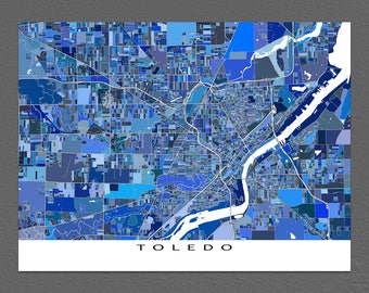Toledo Map Art Print, Toledo Ohio USA, City Map Prints