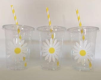 Daisy Party cups, Daisy Birthday Party Cups, Flower Party Cups, Daisy Baby Shower Party Cups