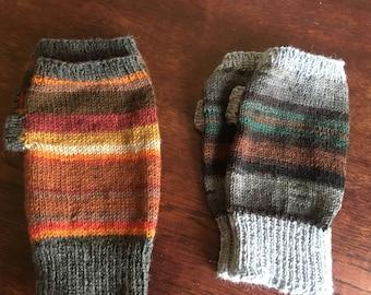 Mens hand warmers, fingerless gloves, wrist warmers, grey/brown/green