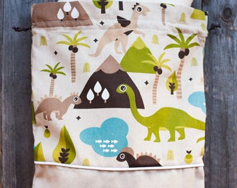 LOT-printed cotton BACKPACK with DINOSAURS. Perfect for the nursery.
