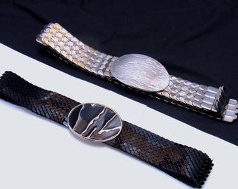Vintage metal snake scale belt lot-black silver fish scales -1980's stretch belts