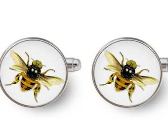 bee cufflinks honey bee cufflinks mens accessories men's gifts -with gift box
