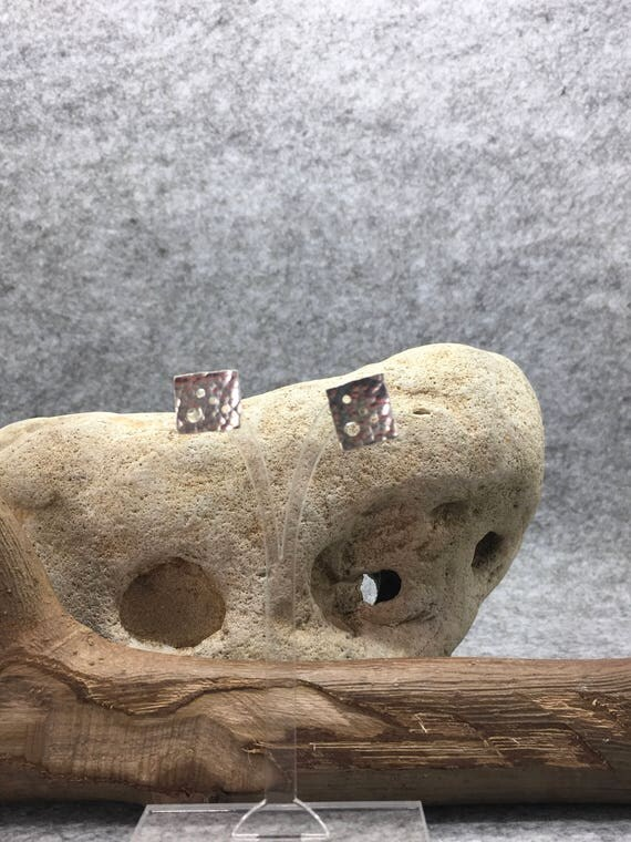 Sterling Silver Hammered Square Stud Earrings, Handcrafted.
