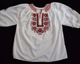 Beautiful Hungarian Hand Made Buzsak Floral Embroidered Wearable Women Blouse Size EU 46 / UK 18