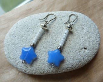 White seed beads and Blue Star earrings