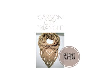 Carson City Triangle Crochet Pattern | Scarf Pattern | Shawl Pattern | Crochet Shawl Pattern | Crochet Scarf Pattern