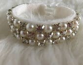 Tiny Size Diamante & Faux Pearl Collar