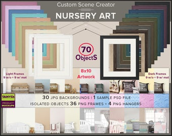 Custom Scene Creator SC2 | 70 Objects | Nursery Art Custom frame mockup creator | Nursery scenes | PNG 8x10 Frames