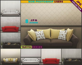 Living Room SC-01 | Modern Sofa Interior | 8 JPG Blank Living Room Wall Styled Scenes | Wall Decor Scene Creator