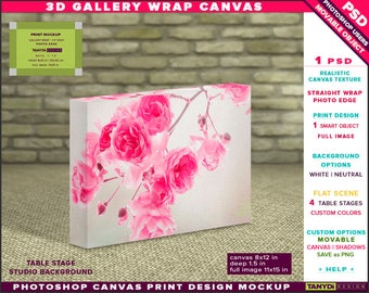 8x12 Gallery Wrap Canvas 1.5in Deep | Photoshop Print Mockup Photo Edge | Landscape Photo Canvas on Table | Smart object Custom colors