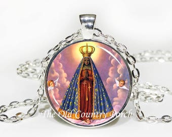 Our Lady of Aparecida-Virgin Mary-Glass Pendant Necklace/Christian Catholic/Christian Gift/Religious Jewelry/Patron Saint/Baptism Gift