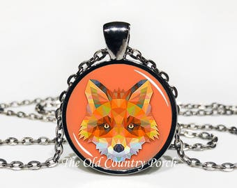 Geometric Fox-Glass Pendant Necklace/Graduation gift/mothers day/bridal gift/Easter gift/Gift for her/girlfriend gift/friend gift/birthday