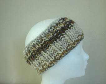 hand knit ear warmer natural colors teen warm winter chunky headband knit in round head band boy girl teenager chunky ear warmer hand knit