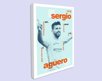 Football Poster for Games TV Room, Sergio Aguero Canvas Print, Manchester City Poster, Modernist Typography, Children Bedroom Interior