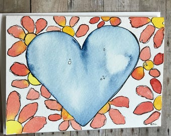Homemade Greeting Card, Watercolor Card, Handmade Card