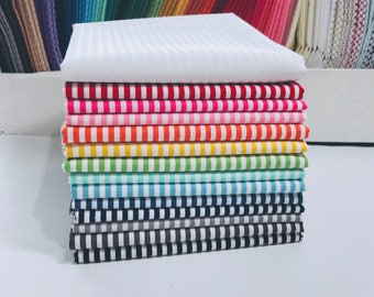 "1/2 Yard Bundle Riley Blake Basic Stripes 1/8"" - 14 Fabrics"