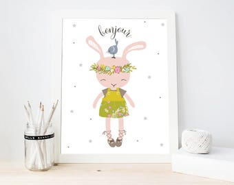 Bonjour Art Print, Nursery Wall Art, Bunny art print, Girly Room Decor, Cute Bunny Nursery Printable (ArtPrint B18)