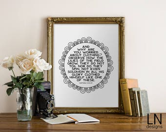Instant 'And why are you worried?' Matthew 6:28-29 Scripture Wall Art Print 8x10 Home Decor Printable