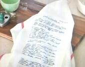 Recipe Tea Towel Family Recipe Towel Mom's Recipe in the original writing