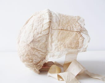 1800s Antique Baby Bonnet Christening Embroidered Lace Baptism
