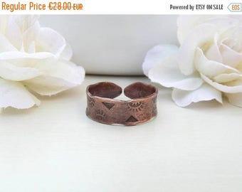 ON SALE Copper ring, rustic ring, adjustable ring, adjustable, size 60 (US: 9,5), copper stamped, handmade.